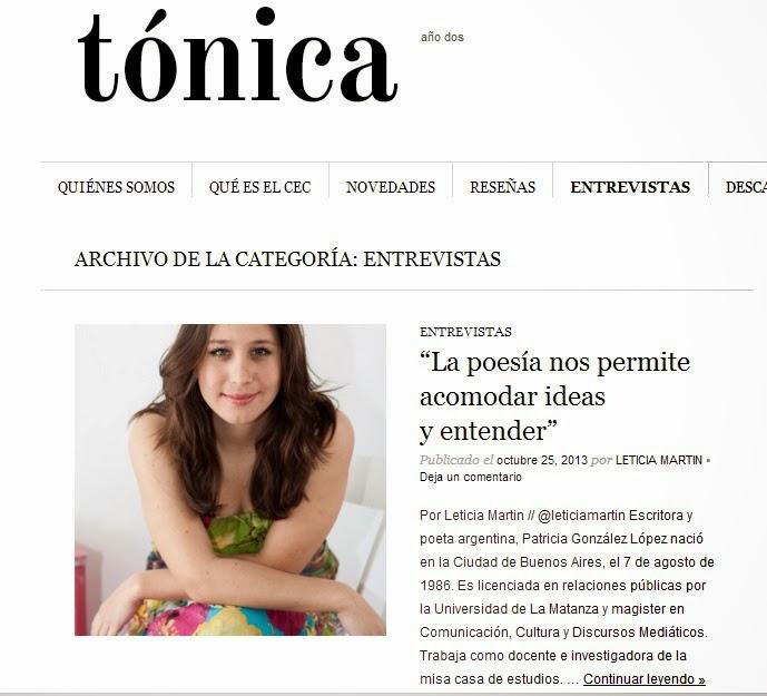 Entrevista de Leticia Martín en Revista Tónica
