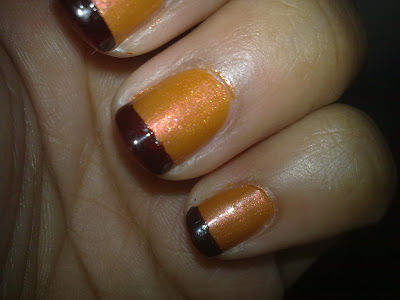 orange nails with brown french tips