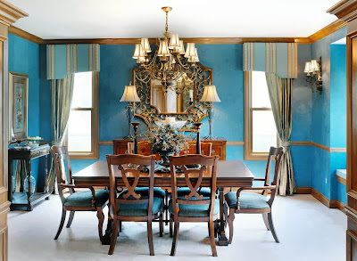 Dining Room Design with Blue Color