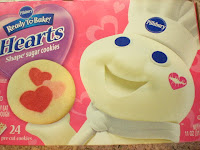 if you are wanting to bake some valentines day cookies but dont want to hassel with all the mess then give the pillsbury ready to bake cookies a try