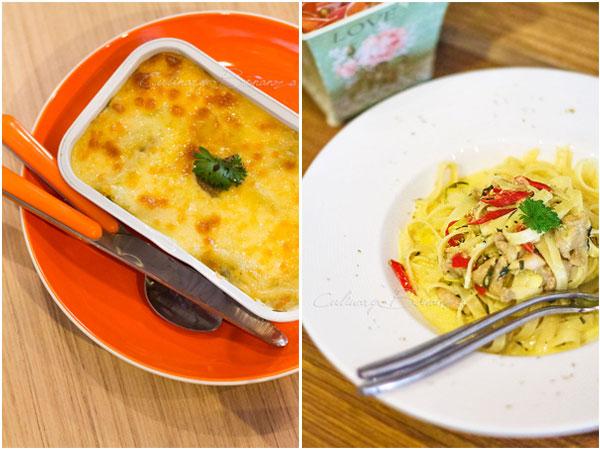 Culinary Bonanza Left: Smoked Beef Baked Macaroni IDR 40,000 | Right: Fettuccine Bumbu Woku IDR 38,000