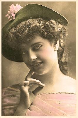 dama vintage foto coloreada