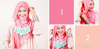 Cara Memakai Jilbab Segi Empat Two Tone