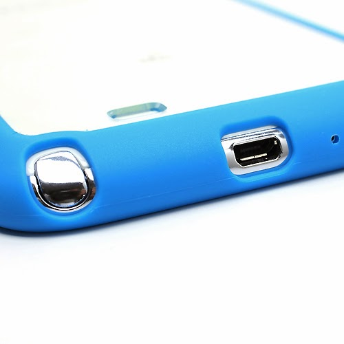 Hybrid Case : TPU Edges and Transparant Back Case Samsung Galaxy Note 2 / II N7100 - Blue