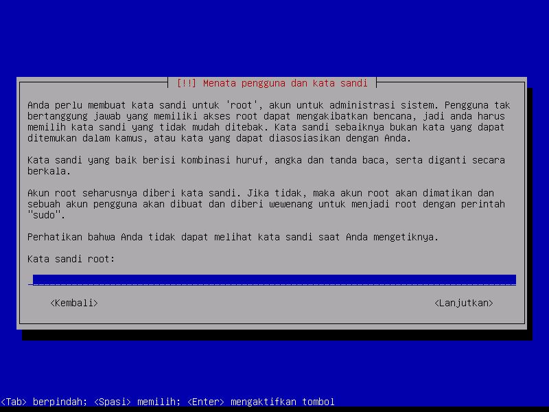 Instalasi Debian: Isikan Kata Sandi Super User  (ROOT)