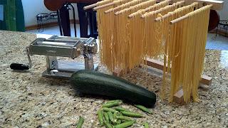 fresh pasta, zucchini, peas