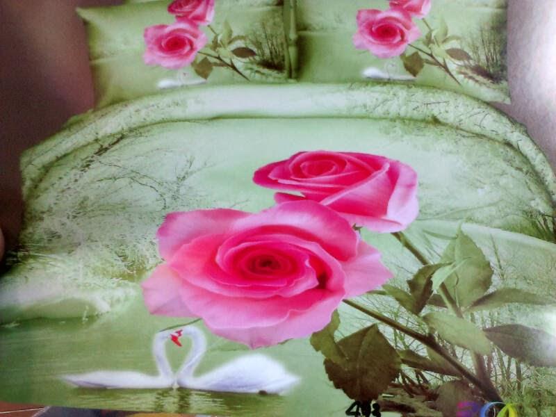 Sprei Jepang Panel Motif Bunga Mawar Pink