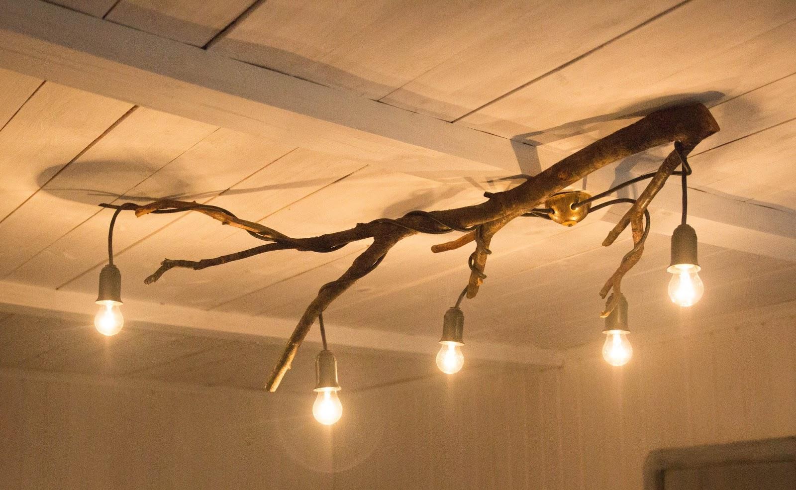Как сделать из веток дерева светильник