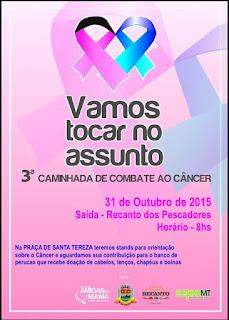 Outubro Rosa e Novembro Azul:Sábado, 31, tem caminhada na campanha de combate ao câncer em Teresópolis