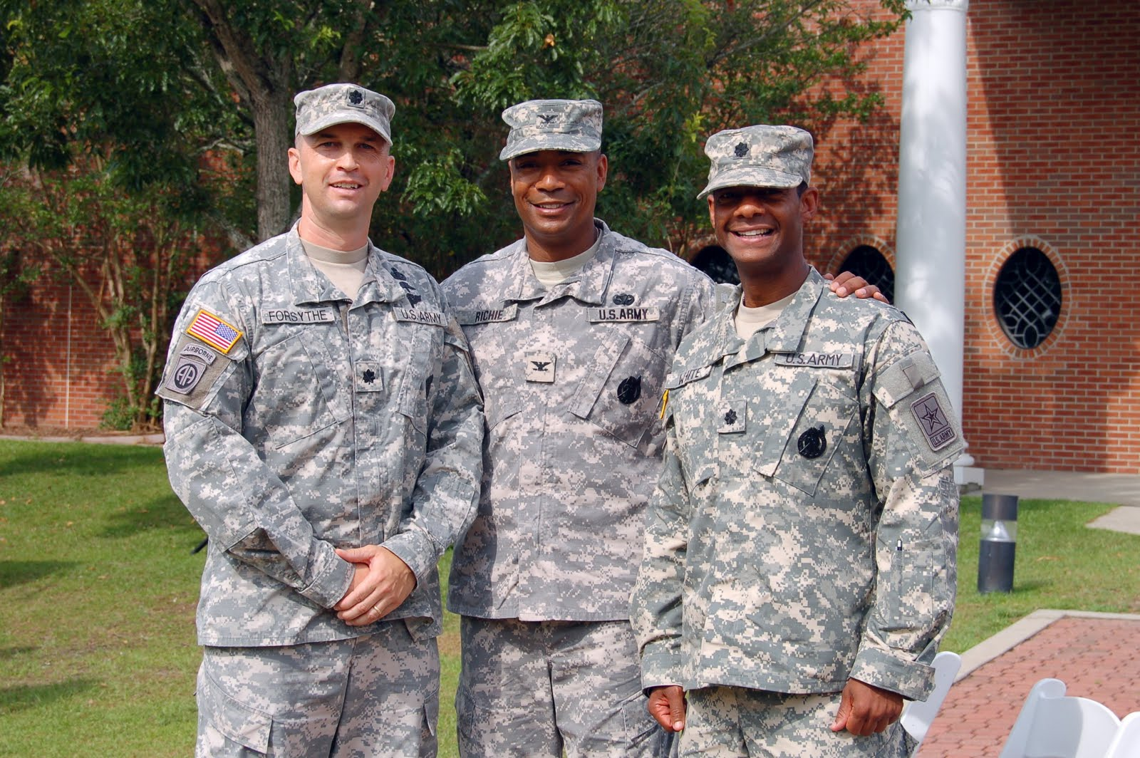 columbia recruiting battalion  ltc forsythe col richie and ltc white gather for a photo after the change of command ceremony