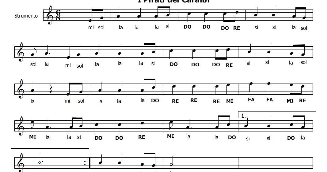 Super Musica e spartiti gratis per flauto dolce: I Pirati dei Caraibi KL84