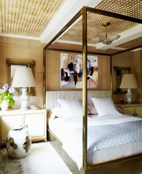 Kelly Wearstler bedroom brass canopy bed