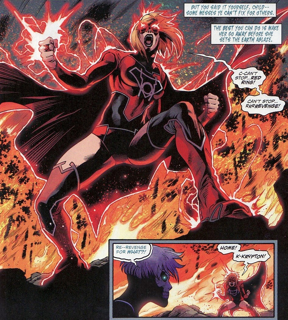 Supergirl Is Shown To Be Fighting The Influence Of Ring Throughout This Issue Much Like She Seemed In Green Lantern Red Flip