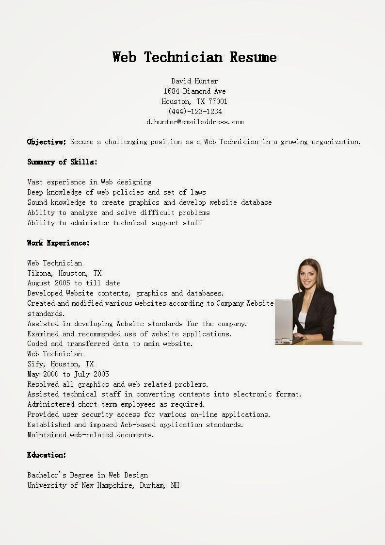 resume samples  web technician resume sample
