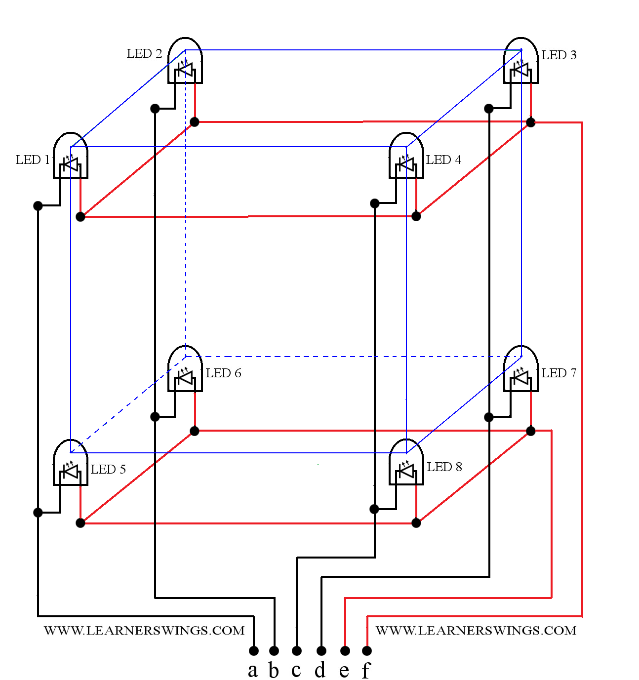 Circuit Diagram of a 222 LED Cube Part 1 of 13 Funny Electronics
