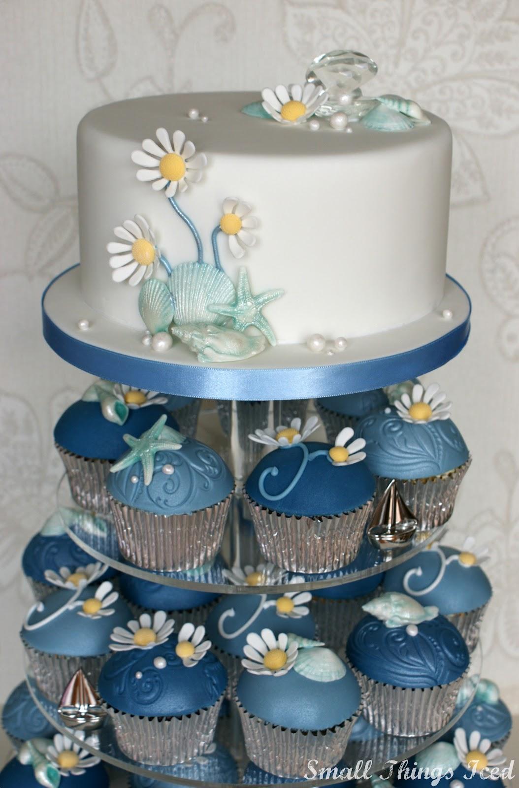 Small Things Iced Daisy & Sea Shell Cupcake Tower 2