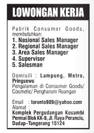 Lowongan Kerja Pabrik Consumer Goods