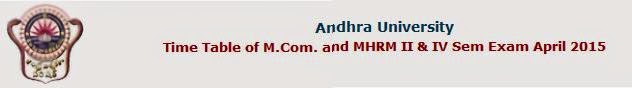 Andhra University M.Com. MHRM April 2015 Timetable