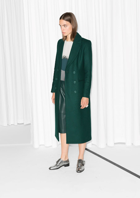 stories green coat, green mid length coat, green long coat,