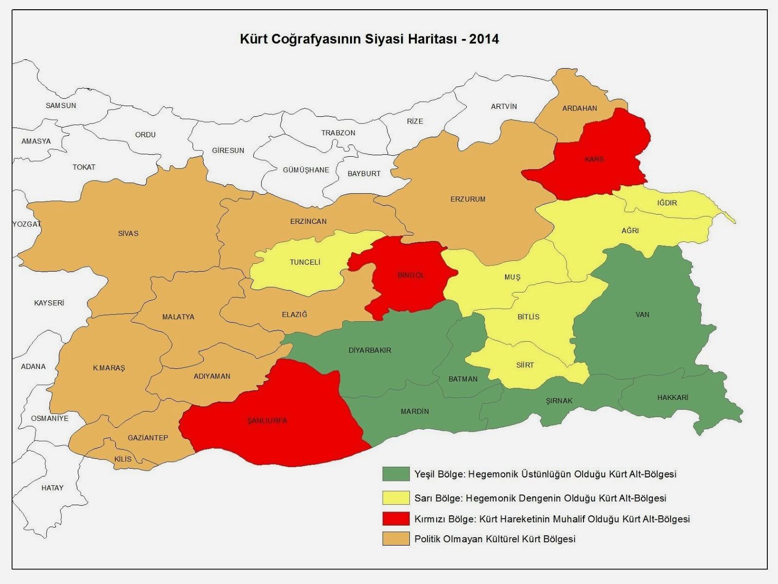 1991'den 2014'e  Kürt Coğrafyasının Siyasi Haritası