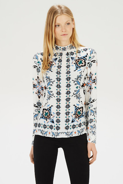 warehouse roll neck printed top, persian print top, white long sleeve print top,