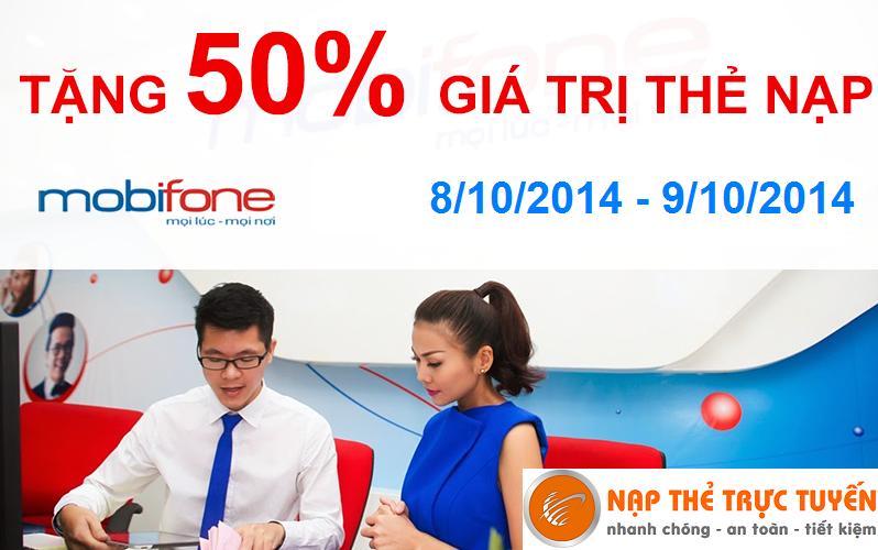 Tặng 50% giá trị thẻ nạp Mobifone - Nạp Thẻ Trực Tuyến
