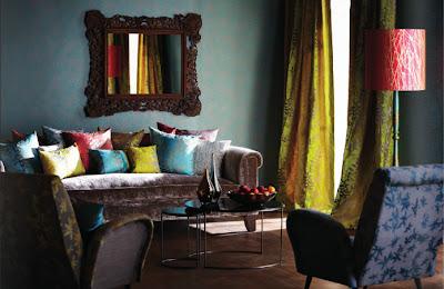 Türkis und Gelb - klasse Farbkombination im Wohnzimmer
