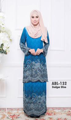 BAJU KURUNG PAHANG ADORIA BERIL LACE COLLECTION (ABL) – DARK DODGER BLUE
