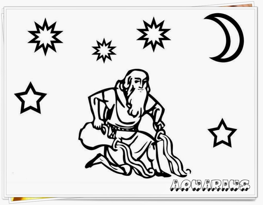 aquarius zodiac coloring pages