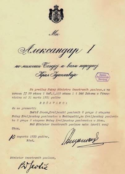 Kralj Aleksandar imenuje Jovana Dučića poslanikom u Rimu
