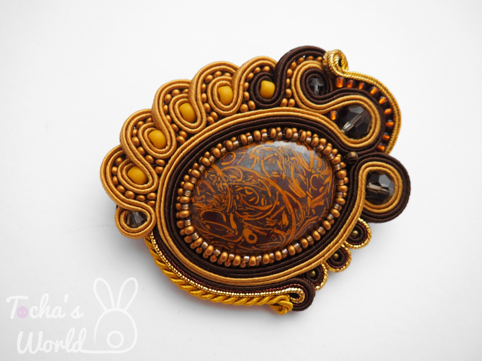 beaded, brooch, brown, cabochon, gold, soutache, autumn, Art Village, Glasgow, Scotland, jewellery, jewelry, gift, Shawlands, Tocha's World