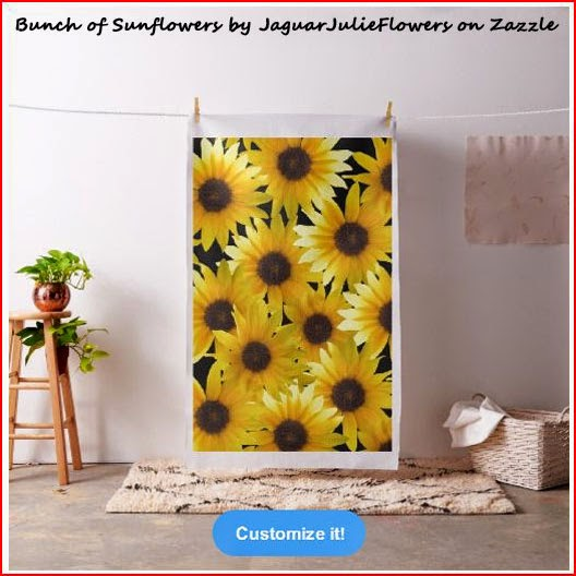 Bunch of Sunflowers Combed Cotton Black Fabric by JaguarJulieFlowers