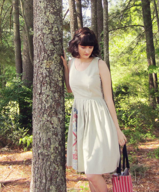 Dress from recycled flour sack, striped tote