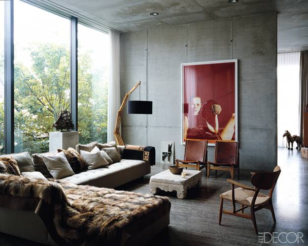 Concrete walls at the Berlin apartment of Christian Boros and Karen Lohmann