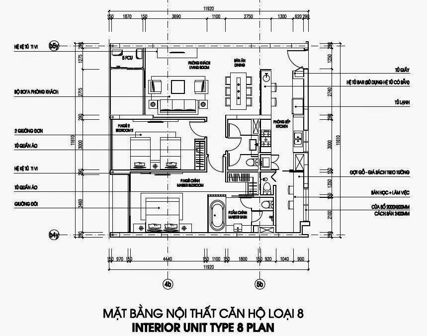 Bản vẽ thiết kế căn hộ CH8 - 133m2 Chung cư Dolphin Plaza gồm 3 căn hộ/sàn