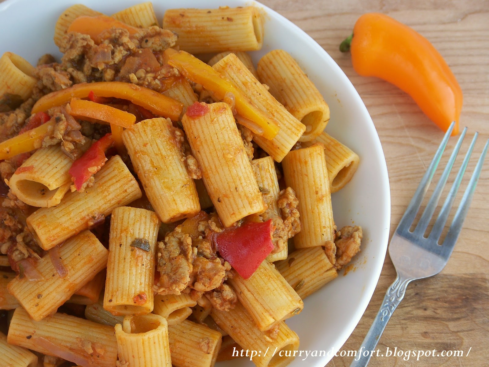 Curry and Comfort: Sausage, Pepper and Onion Pasta