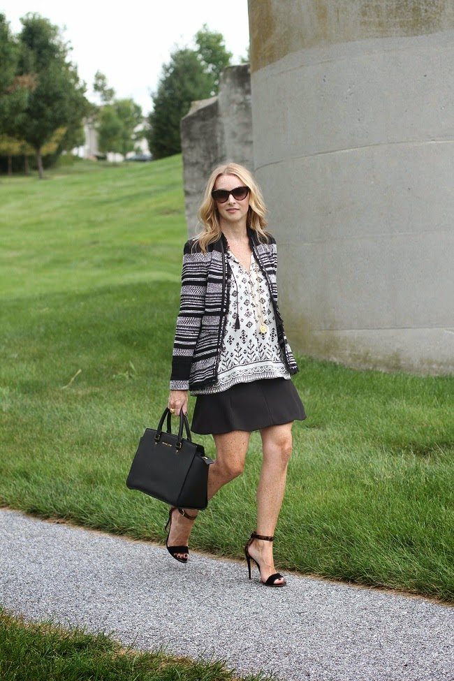joie silk shirt, rebecca taylor jacket, jcrew skirt, club monaco leopard heels, michael kors handbag