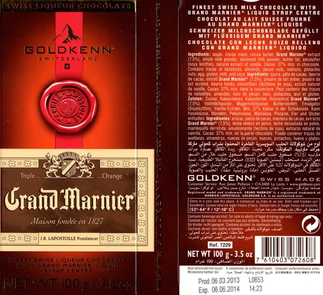 tablette de chocolat lait fourré goldkenn grand marnier