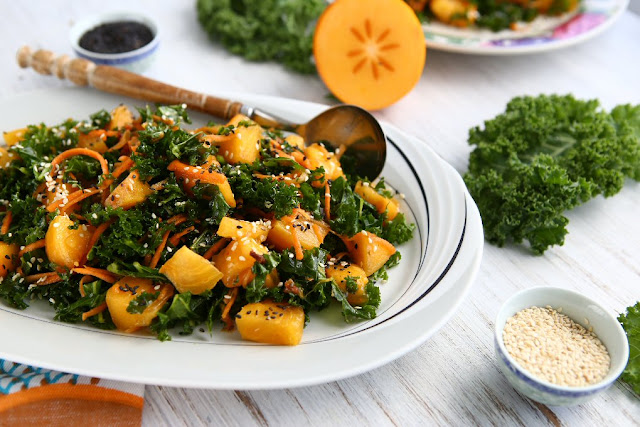 Persimmon Kale Salad with Sesame Seed Oil Dressing - Recipes
