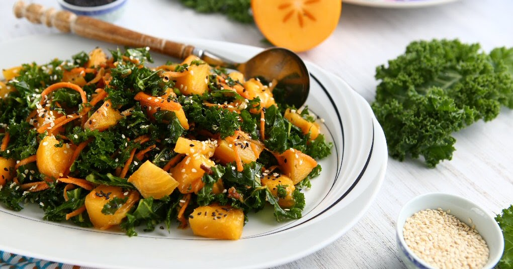 Persimmon Kale Salad with Sesame Seed Oil Dressing