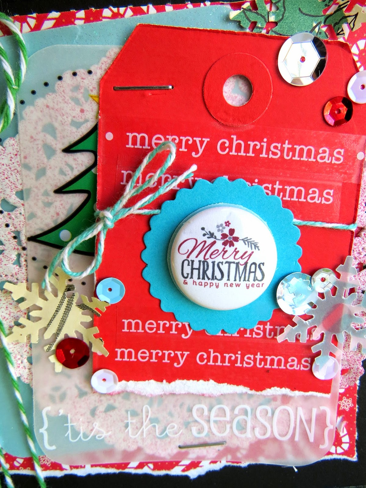 SRM Stickers Blog - A Bossy Joscie & SRM Christmas! by Shannon - #card #christmas #bossyjoscie #flair #twine #stickers #doilies #punchedpieces