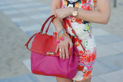 tight floral dress, Fornarina shoes, Marc Jacobs bag