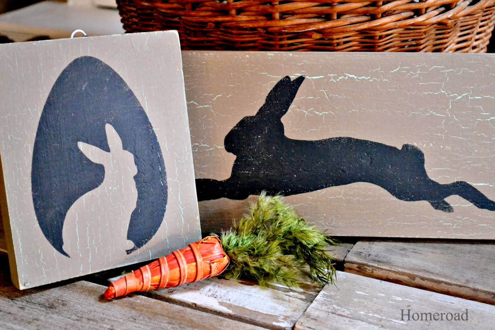 crackle painted silhouette bunnies www.homeroad.net