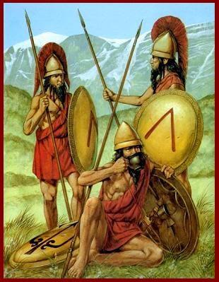 soldados lacedemonios, Esparta, lacedemonia, espartano, guerra mesenia, porpax, cascopilos, hilotas, ilotas, más allá de pangea, mundo antiguo, grecia antigua