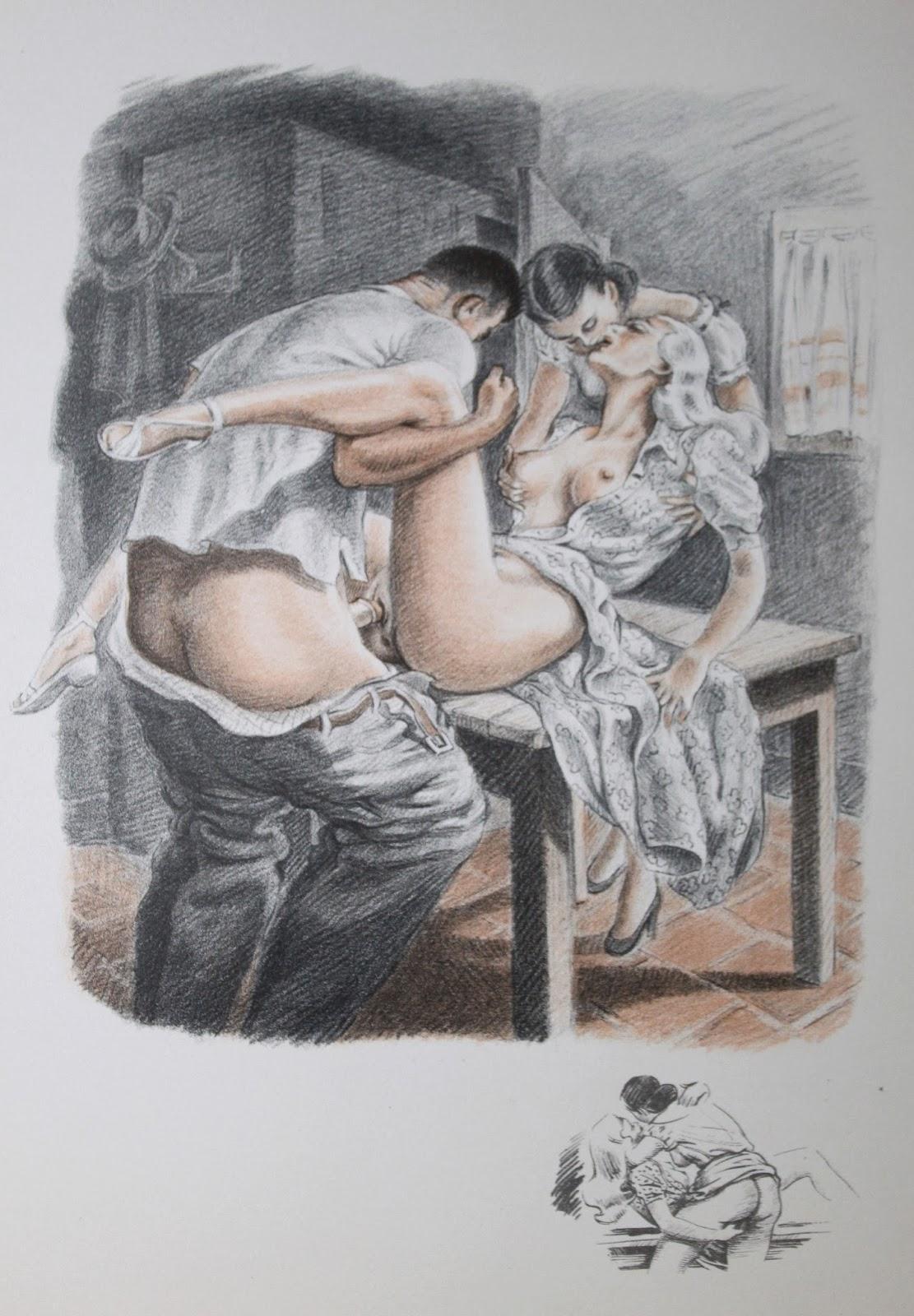 Эротические старинные фото рисунки 10 фотография