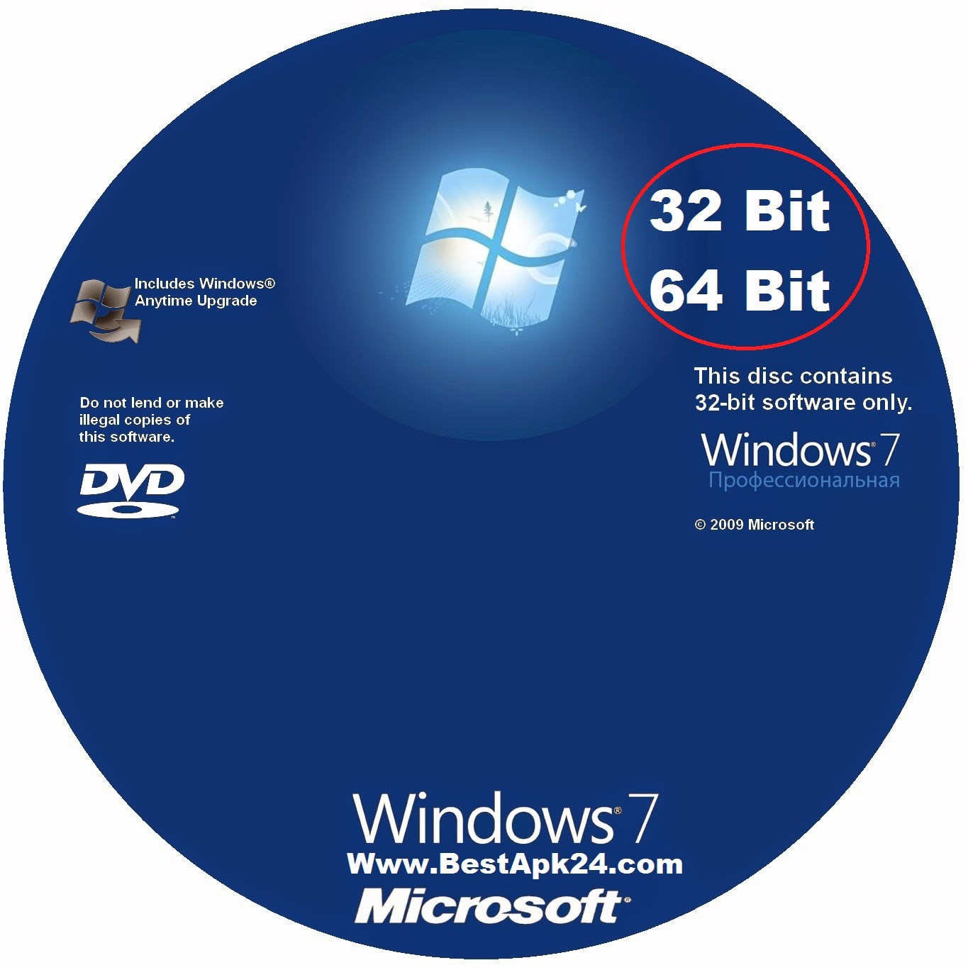 Windows 7 professional 32bit 64bit full license key