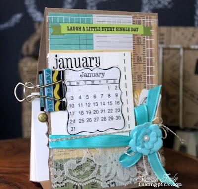 SRM Stickers Blog - Mini Calendar & Die by Shantaie Fowler - #minicalendar #calendar #deskcalendar #die #months #stickers #lace #ecru #twine #kraftbag