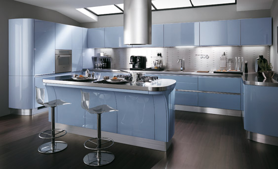Dise os de cocinas modernas color azul ideas para for Cocinas europeas