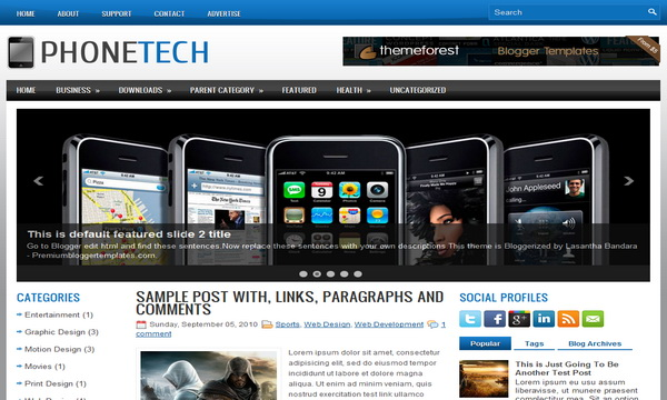 Phone Tech 3 Column Blogger Template