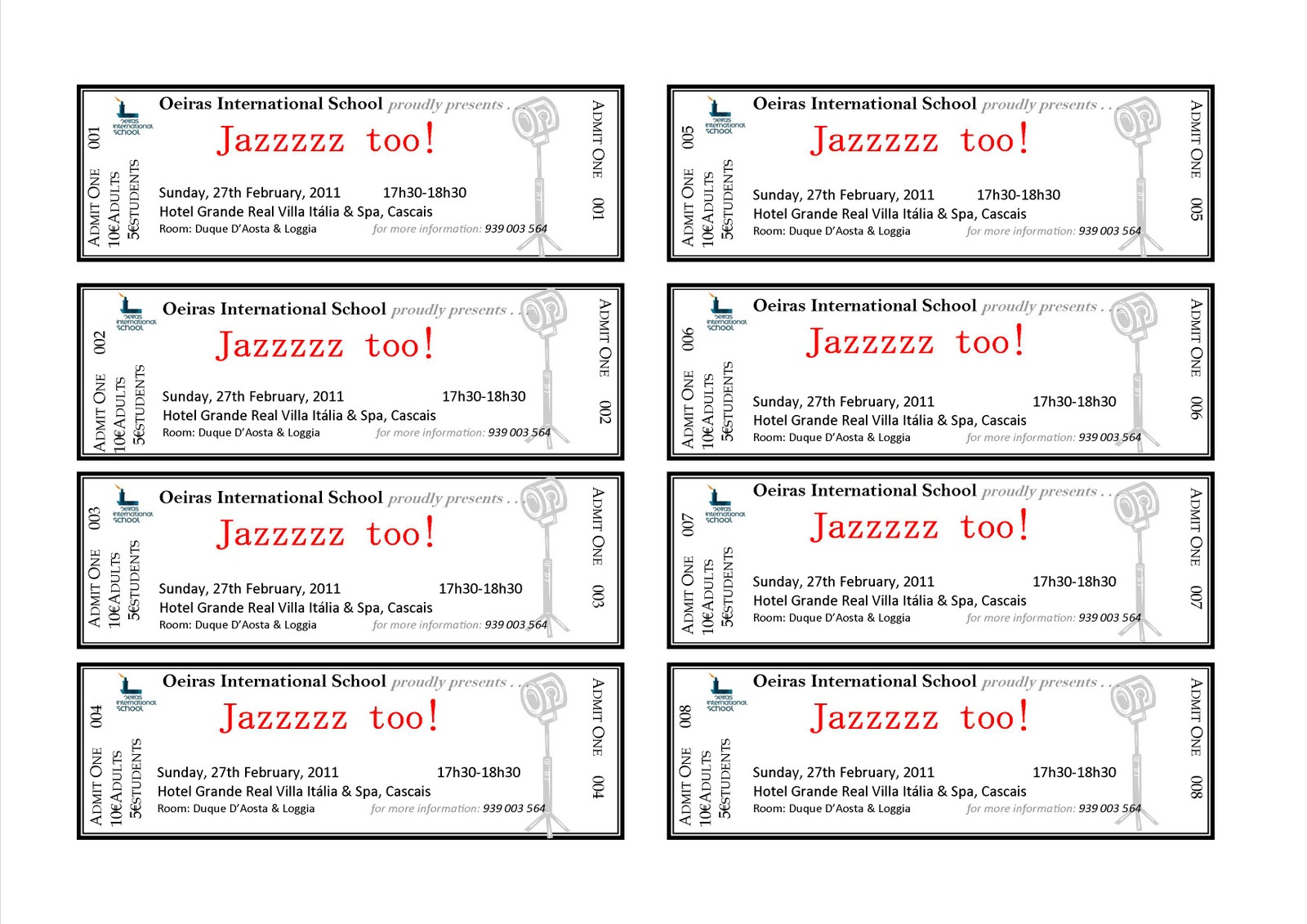 Microsoft office ticket template